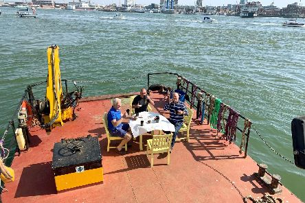 Having tea on board a barge in the Solent
