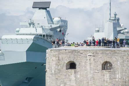 Story: HMS Queen Elizabeth leaves Portsmouth. The view from Old Portsmouth on June 17 2019. Picture: Habibur Rahman