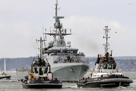 HMS Medway makes her first entry to Portsmouth. Picture: LPhot Barry Swainsbury