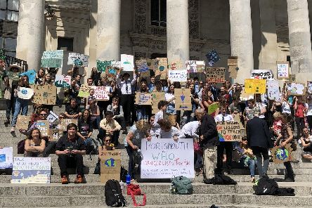 Protesters from Extinction Rebellion outside Portsmouth Guildhall