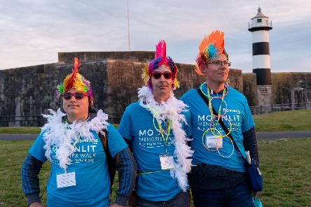 Moonlit Memories Walk 2019 for Rowans Hospice along the Seafront and Old Portsmouth - Pictured (l-r) Charlie Dean, Marc Maran and Mark Collins. Picture: Vernon Nash (150619-002)