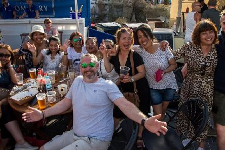 A group of visitors enjoying themselves at the festival. Picture: Emma Terracciano