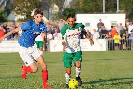 Matt Casey tries to keep Bognor at bay in tonight's 2-1 Pompey victory. Picture: Tommy McMillan