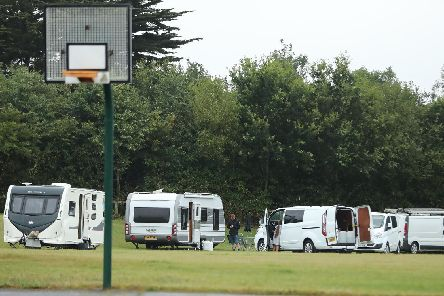 Travellers moving into the recreation ground by Bartons Road, Havant.'Picture: Dave Haines