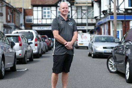 Pompey fan Mick Turnbull would like to thannk Portsmouth FC and the Barry Kilby Prostate Cancer Appeal for the test he had at Fratton Park which could potentially save his life. Mr Turnbull is pictured outside the ground.        Picture: Chris Moorhouse .       (210719-67)