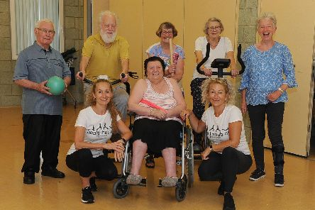 Participants who use the health club with personal trainers Jacque DerKarapetian and Sally Carter. Picture: Habibur Rahman