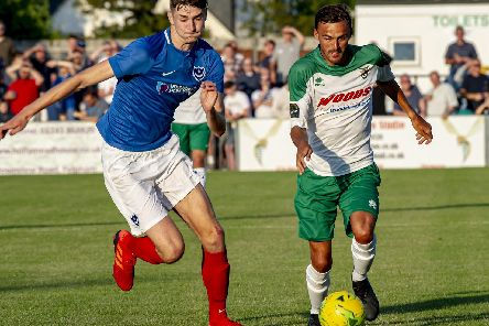 Matt Casey, pictured here against Bognor, features for Pompey XI at Aldershot tonight. Picture: Tommy McMillan