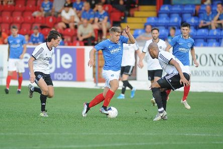 Stan Bridgman in action for a young Pompey XI in their 4-0 defeat at Aldershot tonight. Picture: Habibur Rahman