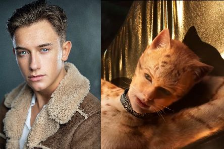 Redmand Rance, left, from Portsmouth (Picture: Mug Photography) with Taylor Swift in the movie Cats (Picture: Universal Pictures)