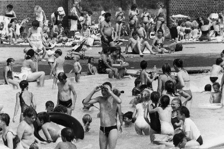 There was hardly any room to move in the children's pool in June 1986 - the main pool was out of use.