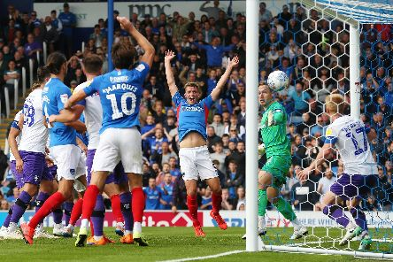 Tom Naylor nets Pompey's second goal in Saturday's 2-0 victory over Tranmere. Picture: Joe Pepler
