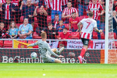Tom Naylor cannot prevent Chris Maguire scoring Sunderland's winner on Saturday. Picture: Malcolm Mackenzie