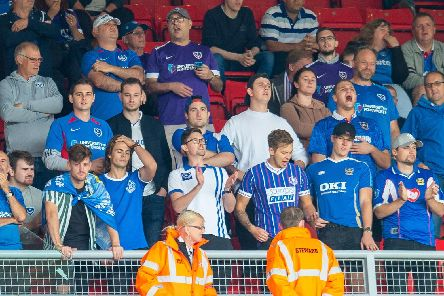 A section of the Pompey fans who made the trip up to Sunderland's Stadium of Light on Saturday Picture: Malcolm Mackenzie