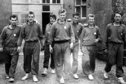Pompey players in the 1960s. Bob Moffat is third from right.