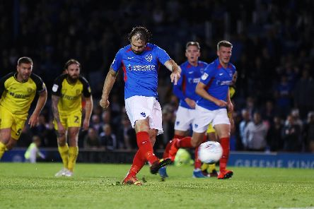 Brett Pitman scored in the final moments of the match from the penalty spot. Picture: Joe Pepler