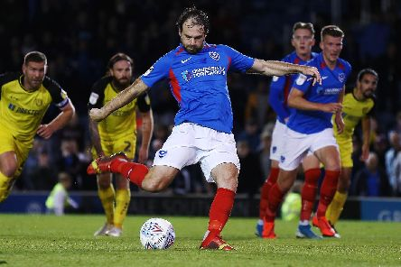 Brett Pitman rescued Pompey a point against Burton. Picture: Joe Pepler