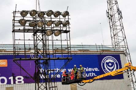 The Fratton floodlights are taken down / Picture by Colin Farmery