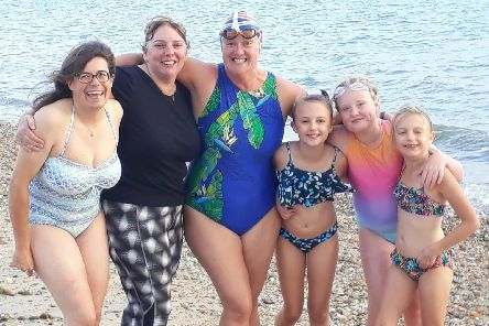 Lucy Grodie, Tracy Smith, Anna Wardley, Willow Sellers, Lily Gillard and Mia Sellers at the Stokes Bay picnic on World Suicide Prevention Day