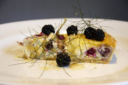 Blackberry, goat's cheese and fennel tart by Lawrence Murphy