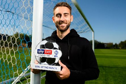 Ben Close with his the Sky Bet League One Goal of the Month award for August. Picture: Dougie Allward/JMP