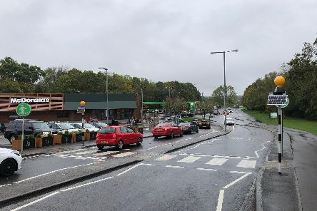 Traffic queuing to join the roundabout on Purbrook Way.