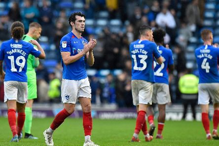 John Marquis applauds the fans at full time following Pompey's draw with Gillingham. Picture: Graham Hunt/ProSportsImages