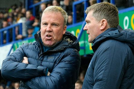 Pompey boss Kenny Jackett, left, along with assistant-manager Joe Gallen. Picture: Graham Hunt