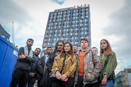 Some of the students outside Stanhope House, Portsmouth.'Picture: Habibur Rahman