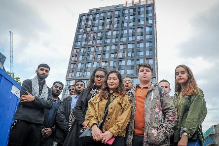 Students protest outside Stanhope House, Portsmouth after 256 rooms were not ready for the start of term. Picture: Habibur Rahman