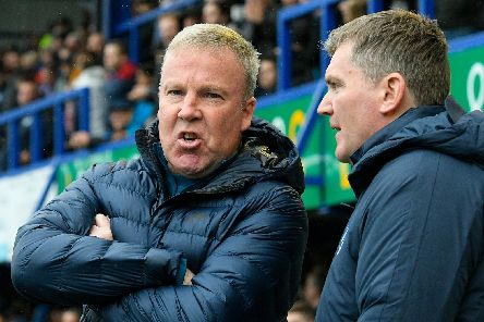 Pompey manager Kenny Jackett and assistant-boss Joe Pepler. Picture: Graham Hunt