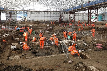 The dig at the HS2 project in St. James's burial ground, Euston, where they discovered remains of Royal Navy explorer Captain Matthew Flinders Picture: HS2/PA Wire