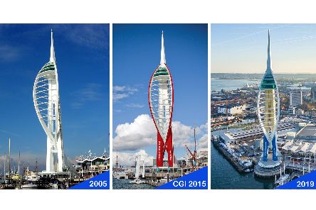 The Spinnaker Tower white as it was in 2005, CGI of the abandoned red paint job proposed in 2015, and how the 560ft structure looks today in Gunwharf Quays'