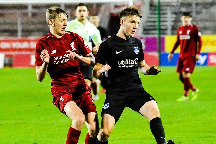 Pompey Academy defender Ethan Robb in action against Liverpool in the FA Youth Cup last season. Picture: Colin Farmery