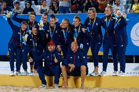 GB celebrate winning the silver medal at the World Beach Games in Doha