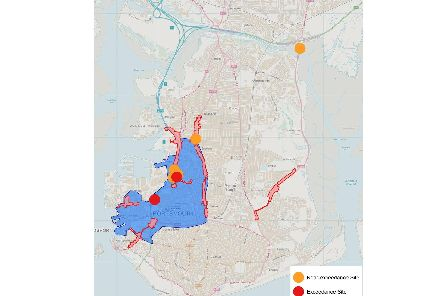The area of Portsmouth that could be a chargeable clean air zone. Picture: Portsmouth City Council