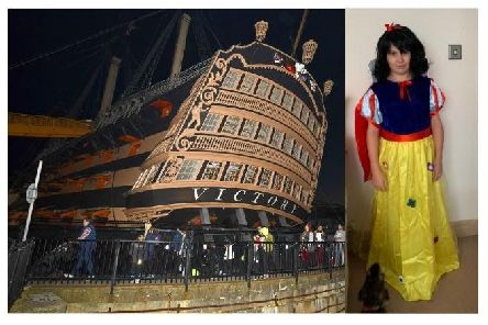 Jacob Pitt from Portsmouth in his Snow White outfit, with a picture from last year's Rowans Hospice Starlit Walk