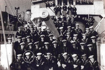 The ships company of HMS Ladybird in Shanghai, 1937. Ernest Fox is circled. Picture:: Derek Fox collection.