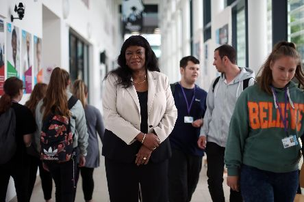 Stella Mbubaegbu, principal of Highbury College, pictured at the college with students                 Picture: Chris Moorhouse