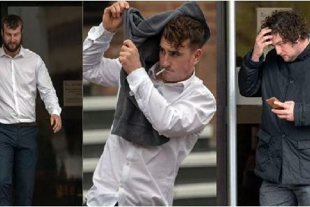 Eleven men appeared at Guildford Crown Cour  in connection with a brawl which broke out at Goodwood races on May 5.  Steve Parsons/PA Wire'(l-r) David Salway, Tyrone Sharp and Peris Dore all of Gosport, Hampshire
