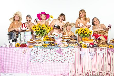 The cast of Calendar Girls, from left: Rebecca Storm, Sue Devaney, Lisa Maxwell, Julia Hills, Ruth Madoc, Sarah Jane Buckley, Judy Holt. Picture by John Swannell
