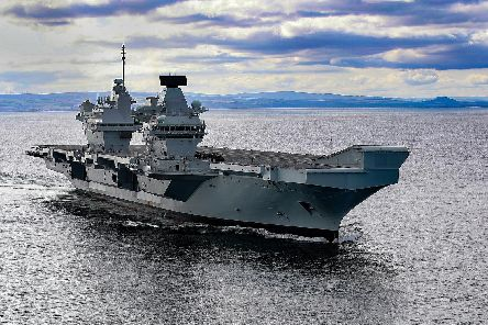 Image shows HMS Prince Of Wales at sea. She has arrived off the coast of the Isle of Wight ahead of her maiden arrival to Portsmouth. Photo: LPhot Alex Ceolin