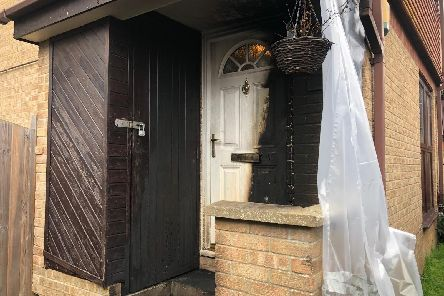 The door in Tunstall Road, Paulsgrove, which was set on fire last night.