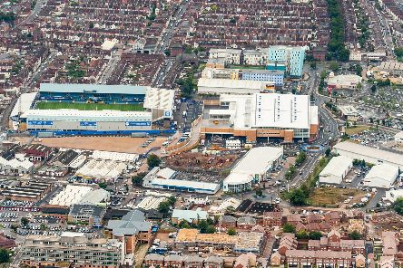 An aerial view of the Pompey Centre in Fratton Way, opposite Fratton Park, which has units pictured centre, top-right and right. Picture: Shaun Roster (www.shaunroster.com)