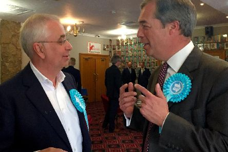 John Kennedy, left, with Brexit Party leader Nigel Farage