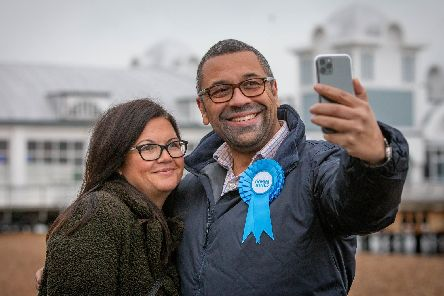 Selfie time: James Cleverly taking a selfie with Tanya Simmons.'Picture: Habibur Rahman