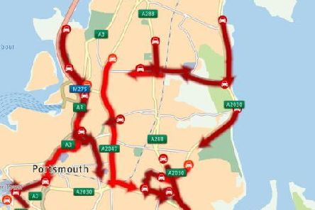 Current traffic levels in Portsmouth at 1pm. Picture: Portsmouth City Council/Twitter