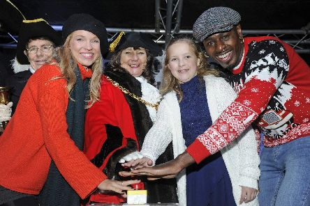 (l to r), Lucy Kane, Councillor Kathy Jones, Abigail Webber and Ben Ofoedu. Picture: Ian Hargreaves  (301119-4)