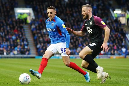 Former Pompey youngster Dan Butler set up both Peterborough goals on his return to Fratton Park   Picture: Joe Pepler
