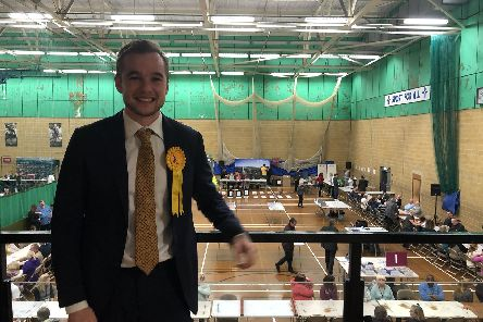 Lib Dem Meon Valley candidate Lewis North in the general election is at the count in Winchester. Picture: Annie Lewis