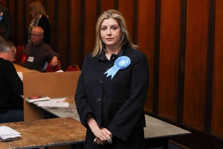 Penny Mordaunt's finger was bitten by a dog in Portsmouth on the campaign trail. Picture: Habibur Rahman